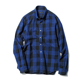 SOPHNET. - 2016/17 A/W FLANNEL BLOCK CHECK B.D SHIRT (SCORPION EMBROIDERY)