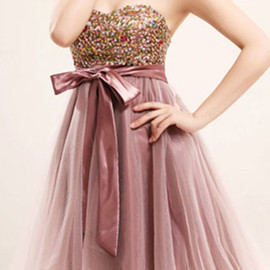 Elegant Sweet Bowknot Colorful Paillette Strapless Party Dress