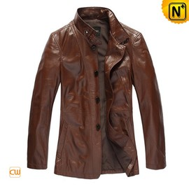 CWMALLS - Classic Brown Leather Trench Coat For Men - CWMALLS.COM