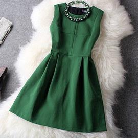 Green Shiny Dress with necklace
