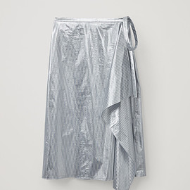 COS - METALLIC STRIPED WRAP SKIRT
