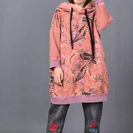 loose Red dress - Women loose Red dress large size Hooded bottoming dress