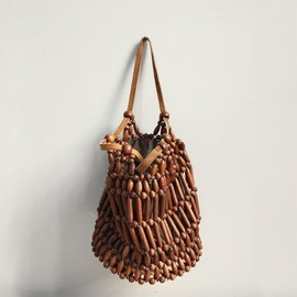 Vintage Wood Beaded Pouch / Purse, Pocketbook, Handbag.