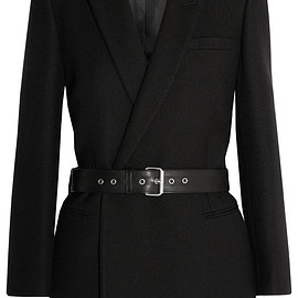 SAINT LAURENT - Belted double-breasted wool-twill blazer