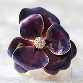 Jeweled Flower Ring -Green