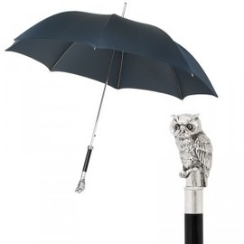 Pasotti - Pasotti Ribbed Navy Automatic Umbrella SAMPLE with Silver Owl Handle