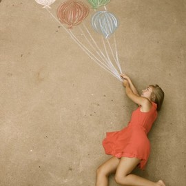 Anna Nimmity - Red dress driveway photo with chalk balloons