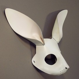 TomBanwell - Rabbit mask in white leather