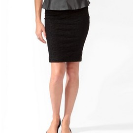 FOREVER 21 - Textured Lace Skirt