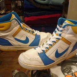 "NIKE - 「<used>'87 NIKE AIR FORCE 2 HI white/lt.blue/yellow""made in TAIWAN"" size:US8/h(26.5cm) 15800yen」完売"