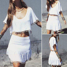 Fashion Solid Color Tassels Two-piece Dress