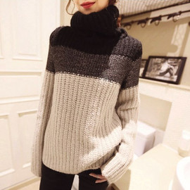 Casual Sweet Contrast Color Turtle Neckline Knit Sweater