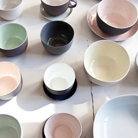 A collection of ceramic spoons