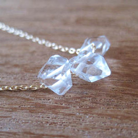 pomme - Herkimer diamond three stone necklace 14kgf