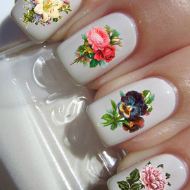 PineGalaxy - Vintage Flower Nail Decals