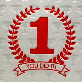 Letterpress Delicacies - Letterpress Congratulations You Did It in Red