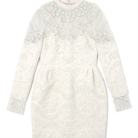 VALENTINO - Embroidered Short Dress With French Cuffs