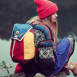 YKRA - Backpack - Blue/Red/Leather