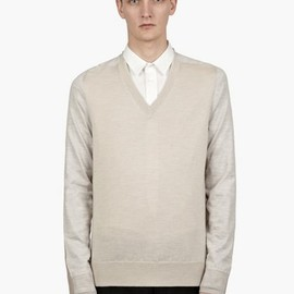 Maison Martin Margiela - 14 Men's Beige V Neck Panelled Knit