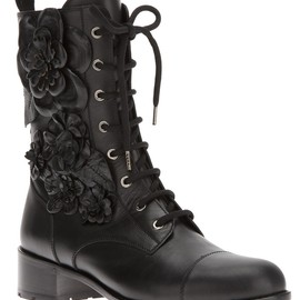 VALENTINO - floral lace up ankle boot