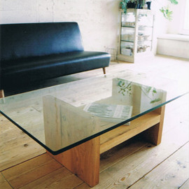 TRUCK FURNITURE - OAK GLASS-TOP LOW TABLE