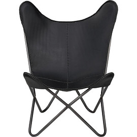 CB2 - 1938 black leather butterfly chair