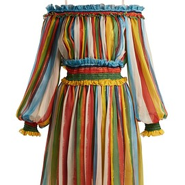DOLCE&GABBANA - Striped silk-chiffon off-the-shoulder dress