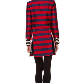 THOM BROWNE - Striped Silk-Blend Chesterfield Coat