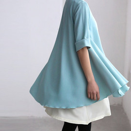 MaLieb - light blue dress Two Layers chiffon shirt dress Flowing chiffon Sundress
