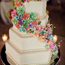 multicoloured flower wedding cake