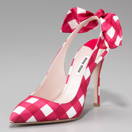 miu miu - Check Bow-Detail Slingback Pump