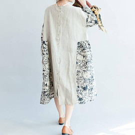dress - Loose Oversize Dress/ Linen large size asymmetrical dress