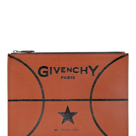GIVENCHY - BASKETBALL MOTIF GRAINED LEATHER POUCH