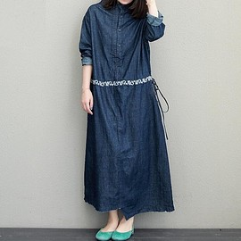 blue robe blue Dress - Denim Full Length Length Long Maxi Dress, Maxi Denim Dress, blue Long Dress, blue robe blue Dress