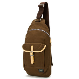 "HEAD PORTER - ""LX"" ONE SHOULDER BROWN"