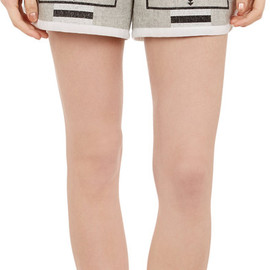 sacai luck - Grosgrain-Trim Tribal-Print Shorts