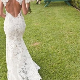 Mermaid Lace V-neck Backless Floor Length Wedding Dress WD1224