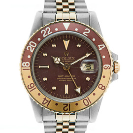"Rolex - 18K Gold & Stainless Steel Vintage ""Root Beer"" GMT-Master"