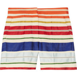 Stella McCartney  - Deckchair-striped cotton and silk-blend shorts