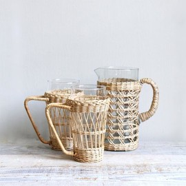 vintage mid century wicker carafe and glasses