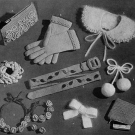 9 Vintage Accessory Patterns - Knitted Crocheted bag, gloves, collar, flowers, belt, pom-poms, jewellery, bow - 1940s 50s