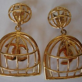 Chanel - Vintage Chanel Birdcage Earrings