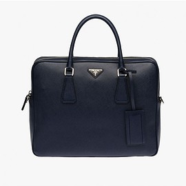 PRADA - Prada 2VE891 Leather Briefcase In Navy Blue