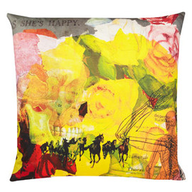 Liberty London - She's Happy Printed Cushion, Laura Oakes