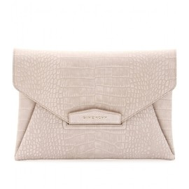 GIVENCHY - ANTIGONA CROCO EMBOSSED SUEDE ENVELOPE CLUTCH