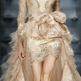 Golden lace wedding dress