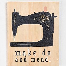 Make Do and Mend by Clare Owen Wood Print