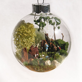 Young Hiking Couple Scene Glass Ornament