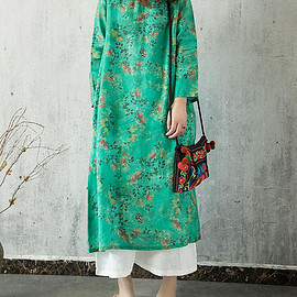 Floral long gown - Women Loose green Pullover dresses women Floral long gown