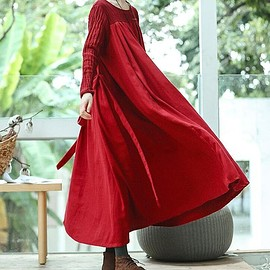 Maxi Dress in red - womens Dress, linen Maxi Dress, Loose Fitting red Dress